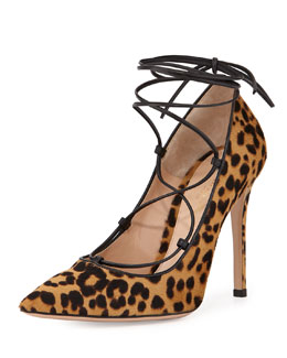 Leopard-Print Calf Hair Lace-Up Pump