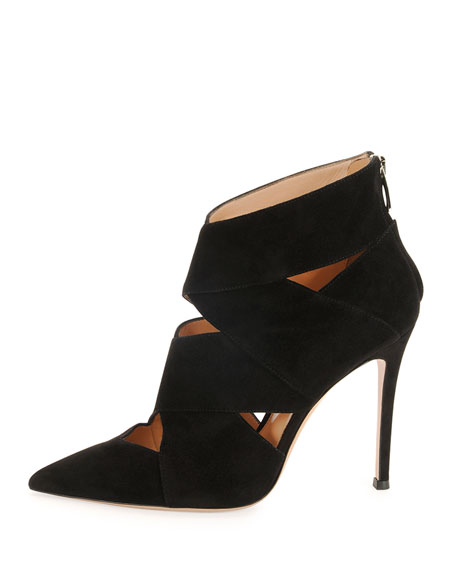 Caged Crisscross Suede Ankle Bootie