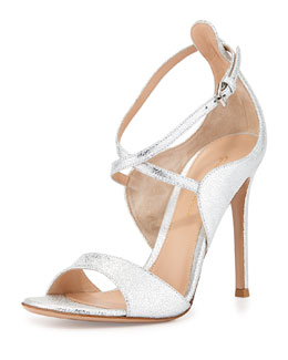 Crisscross Ankle-Wrap Metallic Napa Sandal