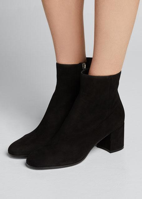 Suede Block-Heel Ankle Boot