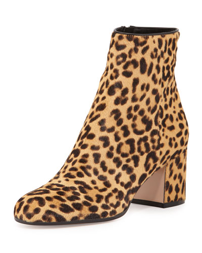 Leopard-Print Calf Hair Block-Heel Ankle Boot