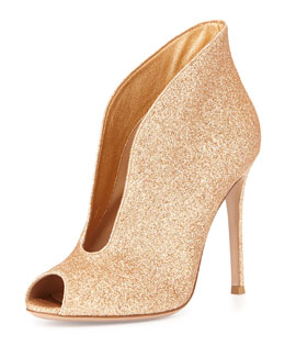 Glittered U-Neck Peep-Toe Bootie