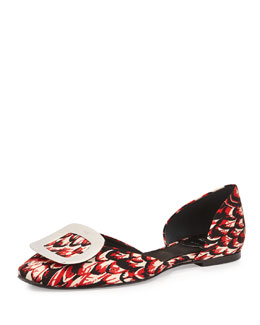Ballerine Chips Feather-Print D'Orsay Flat, Red