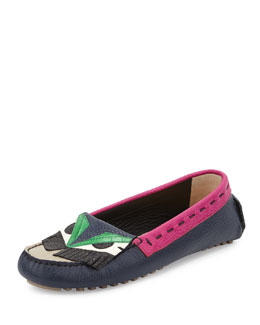 Bugs Leather Monster Moccasin, Multi/Alloro/Pink