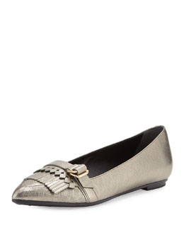 Pointy-Toe Fringe Metallic Ballet Flat