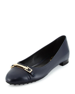 Horsebit Leather Ballerina Flat, Navy