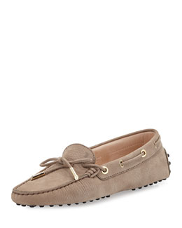 Grained Nubuck Leather Laced Loafer, Taupe