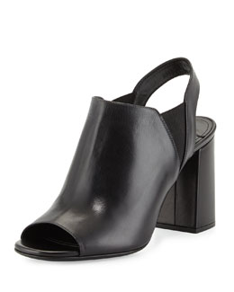 Leather Chunky-Heel Slip-On Sandal, Black (Nero)