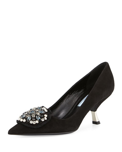 Suede Mid-Heel Ornament Pump, Black (Nero)