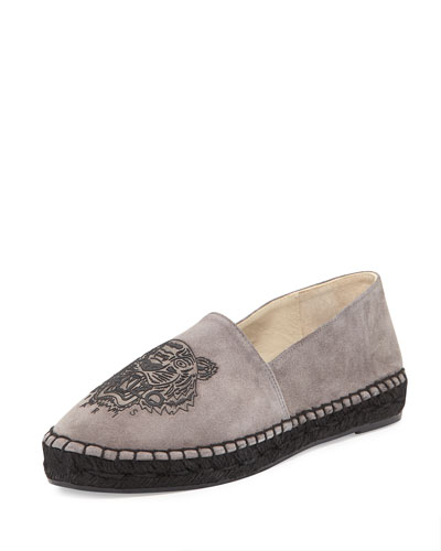 Flat Suede Tiger Espadrille, Light Gray