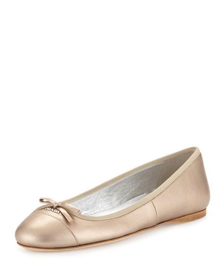 Metallic Leather Ballerina Flat