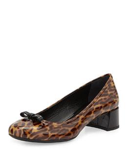 Leopard-Print Patent Ballerina Pump