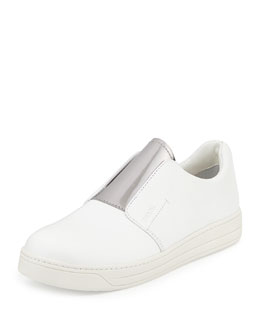 Pantofole Slip-On Leather Sneaker, White/Chrome (Bianco+Cromo)