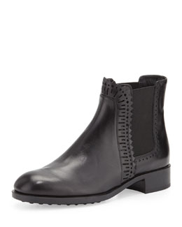 Chelsea Perforated Zigzag Ankle Boot