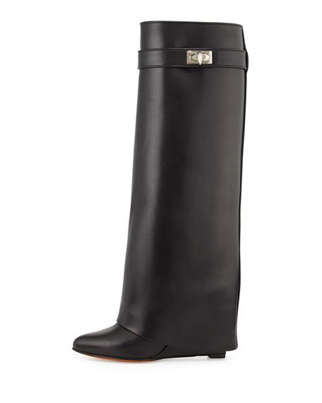 Shark Lock Fold-Over Knee Boot, Black