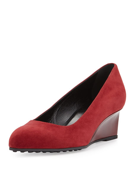Suede Almond-Toe Demi-Wedge, Cherry