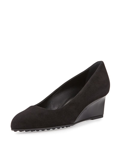 Suede Demi-Wedge Pump, Black