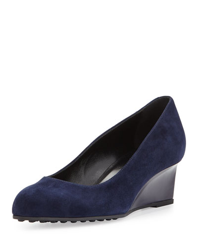 Suede Almond-Toe Demi-Wedge, Navy