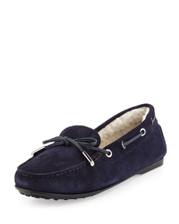 Fur-Lined Gommini Suede Loafer, Navy