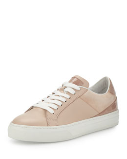 Mixed Leather Low-Top Lace-Up Sneaker, Blush