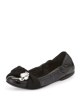 Crystal Bow Patent Ballet Flat, Black