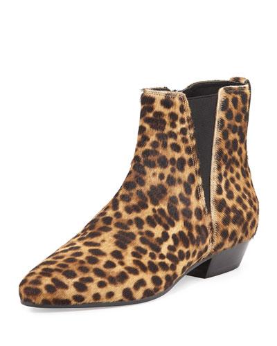 Patsha Leopard-Print Calf Hair Point-Toe Bootie