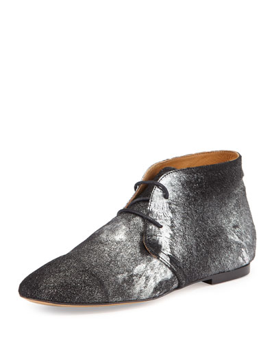 Ginger Burnout Metallic Calf Hair Lace-Up Bootie