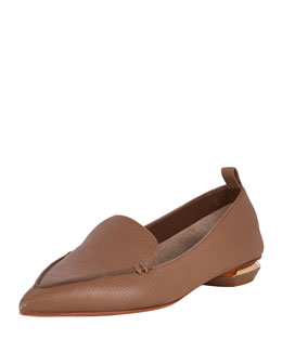 Pebbled Leather Point-Toe Loafer, Taupe