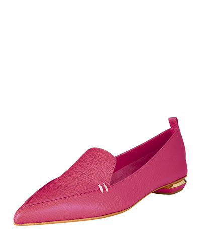 Pebbled Leather Point-Toe Loafer, Dark Pink