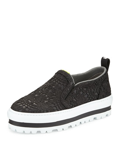 Platform Lace Over Leather Skate Shoe
