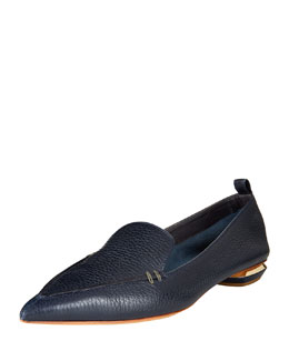 Pebbled Leather Point-Toe Loafer, Navy