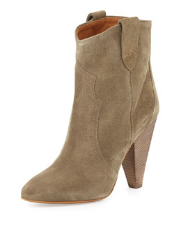 Roxanne Suede Western Bootie, Taupe