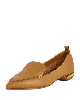 Pebbled Leather Point-Toe Loafer, Tan