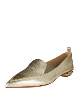 Pebbled Metallic Leather Point-Toe Loafer, Gold