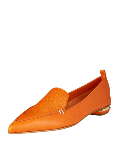 Pebbled Leather Point-Toe Loafer, Orange