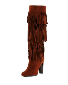 Fringie Suede Tiered Knee Boot