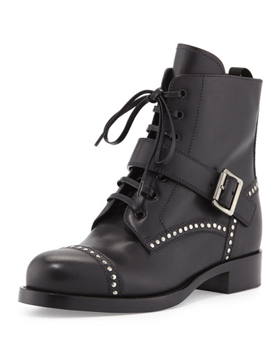 Calf Leather Biker Boot, Black (Nero)