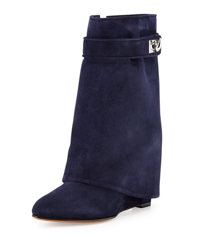 Suede Shark-Lock Fold-Over Boot, Navy