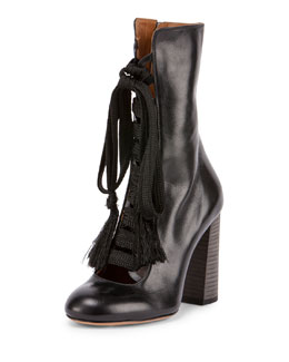 Leather Lace-Up Boot, Black