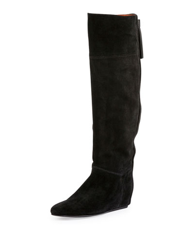 Tassel-Detailed Suede Hidden-Wedge Boot