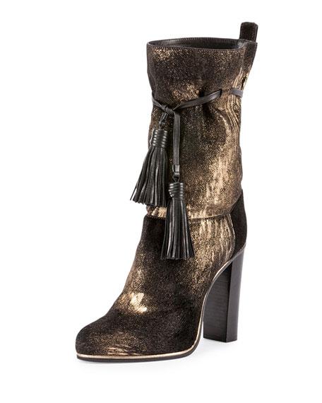 Metallic Suede Tassel Mid-Calf Boot