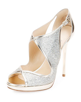 Leondra Glitter & Leather Evening Sandal, Champagne