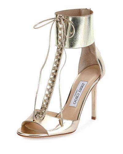 Mahine Lace-Up T-Strap Sandal, Champagne