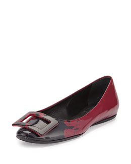 Splash-Print Patent Leather Buckle Flat