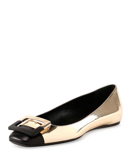 Ballerine U-Cut Cap-Toe Flat, Black/Golden