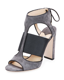 Moira Suede Ankle-Tie Sandal, Black/Gray