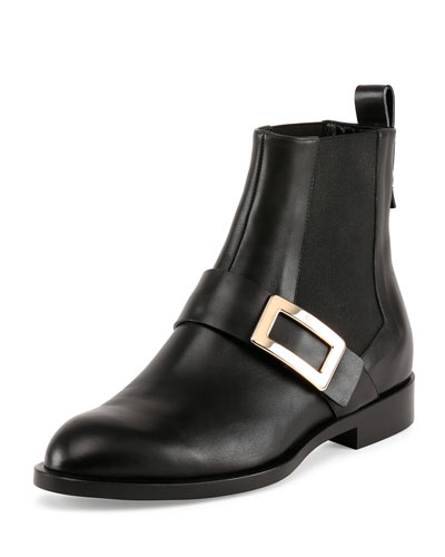 Leather Logo-Buckle Chelsea Boot, Black
