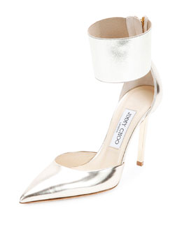 Trinny Ankle-Cuff d'Orsay Pump, Champagne