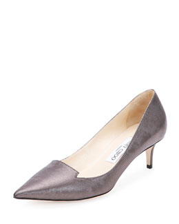 Allure Leather Kitten-Heel Pump, Dark Pewter