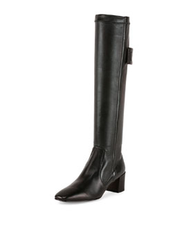 Polly Leather Buckle Knee Boot